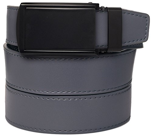 SlideBelts Men's Leather Belt without Holes - Matte Black Buckle / Grey Leather (Trim-to-fit: Up to 48