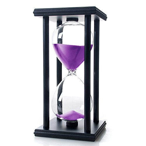 Bellaware 60 Minutes Hourglass, Wood Sand Timer,Purple (Hourglass Large)