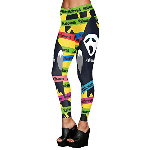 MS Mouse Women's Ghost Printed Halloween Funny Ugly Stretchy Leggings Tights L