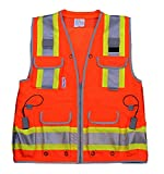 Radians Reflective Vest Class 2 Heavy Woven Two Tone Engineer Hi Viz Orange Safety Vest 3M 8712 Tape (Small, Orange)