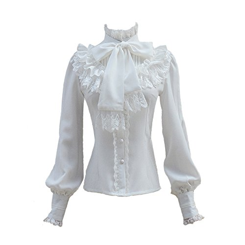 - Smiling Angel Chiffon Ruffle Lace Bow Tie Vintage Gothic Lolita Casual Shirt Blouse,White/Black/Wine Red/Blue