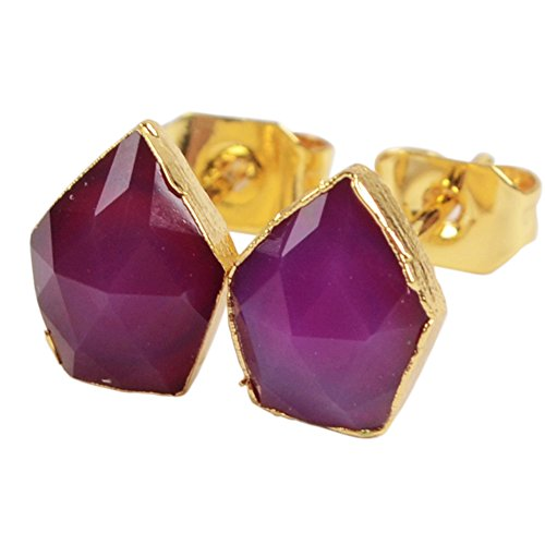 ZENGORI 1 Pair Gold Plated Rose Chalcedony Gem Stone Faceted Post Stud Earrings G1329-4
