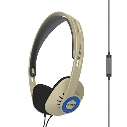 Koss KPH30iRB On-Ear Headphones, in-Line Microphone and Touch Remote Control, D-Profile Design, Wired with 3.5mm Plug…