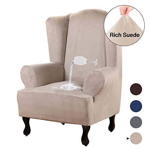 Turquoize Stretch Wing Chair Slipcover Wingback Armchair Chair Slipcovers Sofa Covers 1-Piece Spandex Fabric Wing Back Wingback Armchair Chair Slipcovers (Wing Chair, Sand)