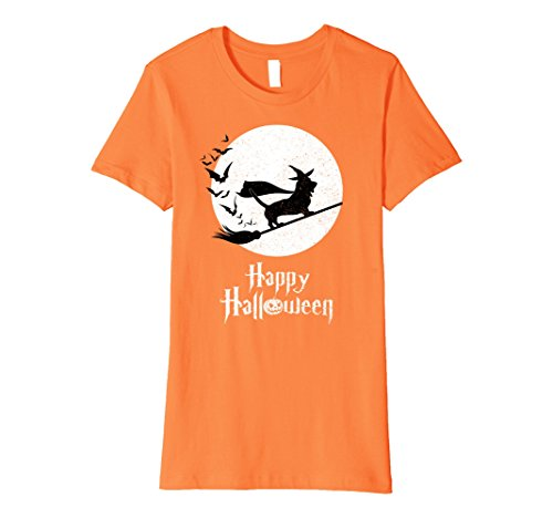 Costumes Normands (Womens Witch BASSET ARTESIEN NORMAND Funny Halloween Costume TShirt Large Orange)