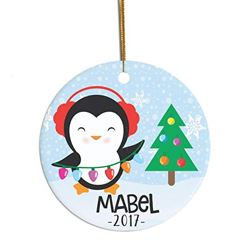 Personalized 2019 Ornament Penguin Ornament Cute Ornament for Girl Or Boy Name Ornament for Child Christmas Ornament for Grandchild (Uk Christmas Ornaments Ball Personalized)