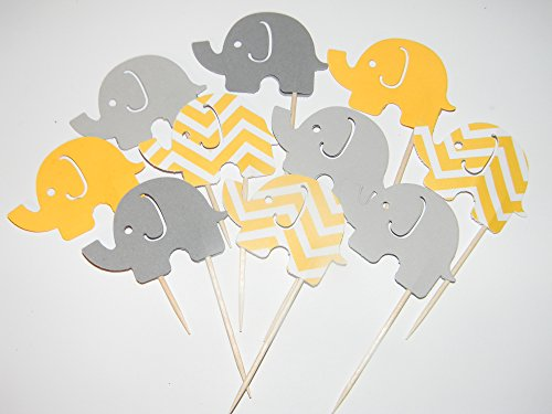24 Large Mixed Yellow Chevron, yellow and gray Elephant cupcake toppers food picks birthday party baby shower supplies