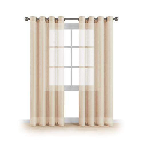 "Grommet Semi Sheer Luxury 2 Panels Total Wide 108"" (Each Curtain 54""Wx95""L) Window Home Decor and Upscale Design Light Penetrating & Privacy Soft Durable Polyester Easy Upkeep (Vanilla Peach"
