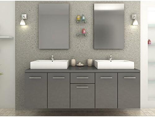 Meuble de salle de bain gris brillant Olivera: Amazon.fr ...