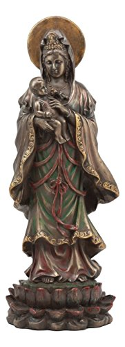 Ebros Buddha Goddess Of Mercy Water And Moon Kuan Yin Carrying A Baby Statue 10