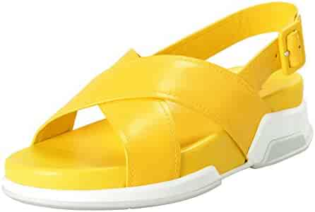 228fd1d2bf3762 Prada Women s Yellow Leather Strappy Open Toe Sandals Shoes SZ US 8 IT 38