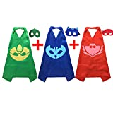 PJ Masks Costumes For Kids Set of 3 Catboy Owlette Gekko Mask with Cape (27.5 inches)