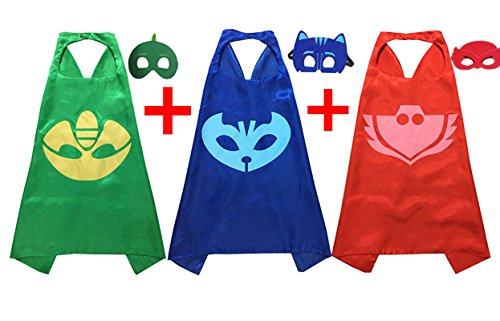 PJ Máscaras Disfraces para Niños Juego de 3 catboy owlette Gekko Máscara con Cabo (27,5 cm): Amazon.es: Ropa y accesorios