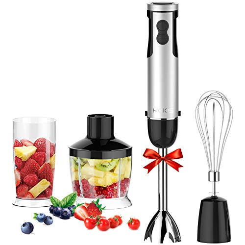 KOIOS 4 in 1 Immersion Hand Blender Powerful 800 Watt 12-Speed Includes Chopper, Whisk, BPA Free Mixing Beaker, for Soups, Smoothie, Baby Food - Stainless Steel