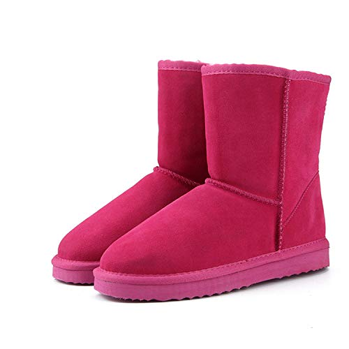 Genuine Cowhide Leather Australia Classic 100% Wool Snow Boots Warm Winter for Women,Rose - C300 Nokia