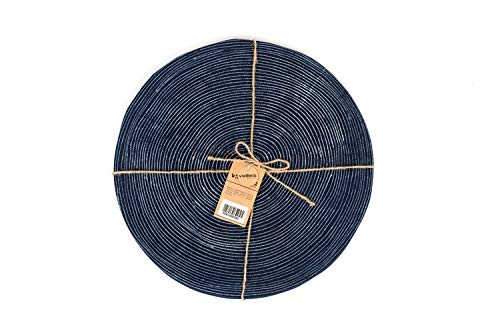 (Viethnic Handmade Round Placemats for Dining Table, Set of 2, Ethnic Hmong Batik Fabric, Washable Dinner Table Mats, Navy, 15