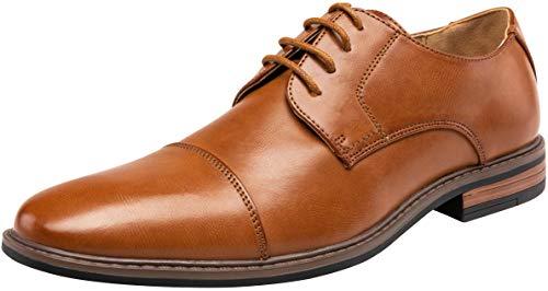 VEPOSE Men's Cap Toe Oxford Business Formal Lace Dress Shoes(12,Brown)