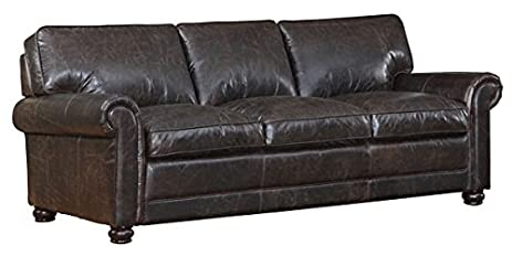 Superbe Henderson Dark Brown Distressed Leather Traditional 3 Seat Leather Sofa  Couch
