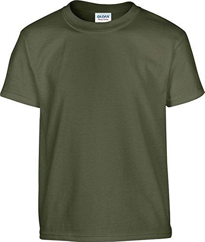 Gildan boys Heavy Cotton T-Shirt(G500B)-MILITARY GREEN-L