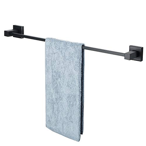 SAYAYO Matte Black Towel Bar, 24-Inch Stainless Steel Towel Holder Bathroom Towel Racks Wall Mount, AB5000GZ-FBA