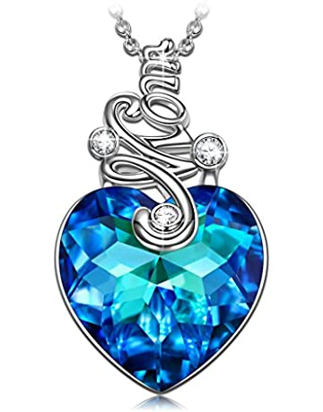 4f9b2b50d PAULINE&MORGEN PM Sterling Silver Heart of Ocean Gold Pendant Necklace for  Women I Love You Diamond