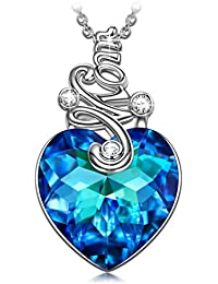 Christmas Birthday Gifts for Mom Love Heart Necklace with Blue Swarovski Crystals, White Gold Plated Jewelry for Women Birthday Gifts for Wife Mother in Law Xmas Gift
