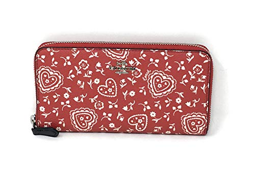 COACH F67515 ACCORDION ZIP WALLET WITH LACE HEART PRINT RED