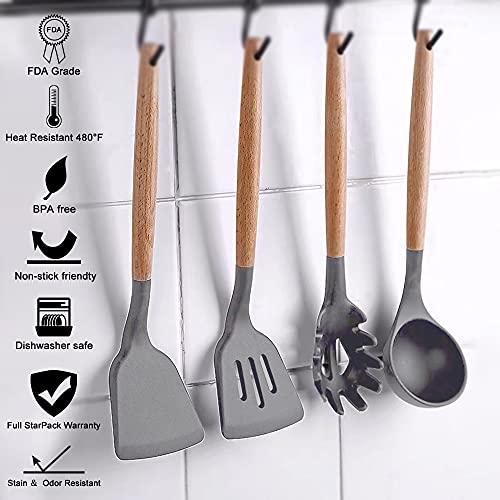 Charlemain Utensili Cucina Silicone, 33 Pezzi Set Utensili Cucina Silicone Antiaderente, Mestoli Cucina Silicone Senza BPA, Manico in Acciaio Utensili da Cucina con Supporto - Nero