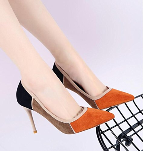 Thin Fine Suede Heeled Shoes All Mouth Thirty With Shoes Shoes Color Match Pointed HGTYU Shallow High eight And New wFOgH87