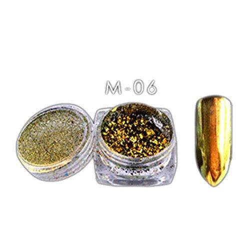 Price comparison product image Nail Power,  Leewa Bling Mirror Nail Art Powder Glitter Decoration+Nail Sponge Pen (Gold)