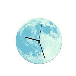 Night-luminous Wall Clock 3D Fluorescent Moon/Earth 30cm Acrylic Wall Clock Sticker,Blue-Moon