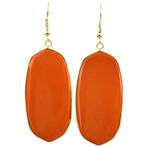 rockcloud Orange Crystal Glass Dangle Hook Earrings Oval Gold -