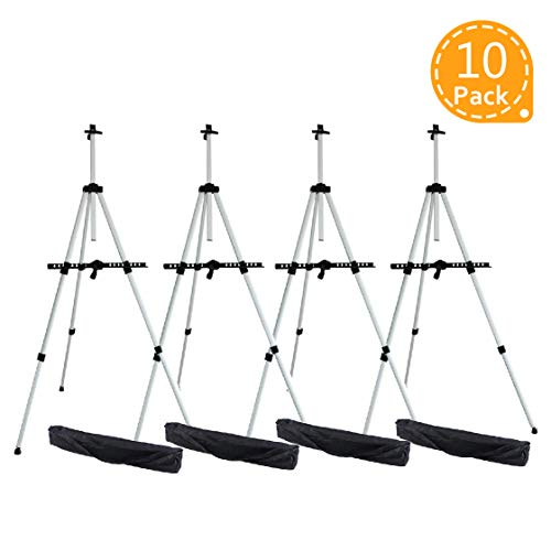 Artist Easel, Ohuhu 10-Pack Aluminum Field Easel Stand with Bag for Table-Top/Floor, Art Easels with Adjustable Height from 21-Inch to 66-Inch from Ohuhu