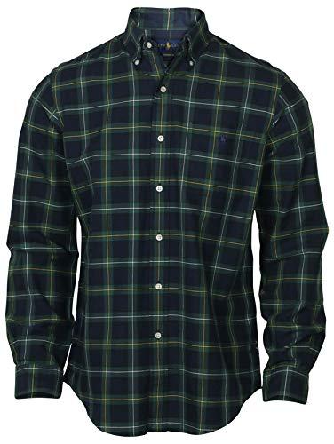 Polo Ralph Lauren Men's Lightweight Classic Fit Flannel Shirt Long Sleeve Plaid Shirts (Medium, Green/Navy)