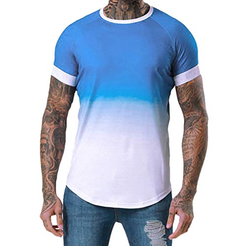 PASATO for Men's Summer Round-Neck Tee Patchwork Graduated Short Sleeved Sport Fintess T-Shirt Top Blouse (Blue,M=US:S)