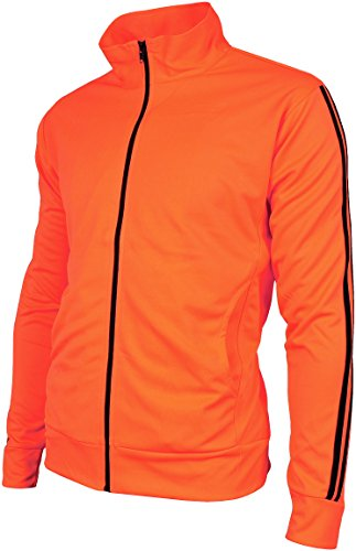 Angel Cola Men's Retro Stripes Full Zip-up Track Top Jacket Fluorescent Orange - Orange Retro