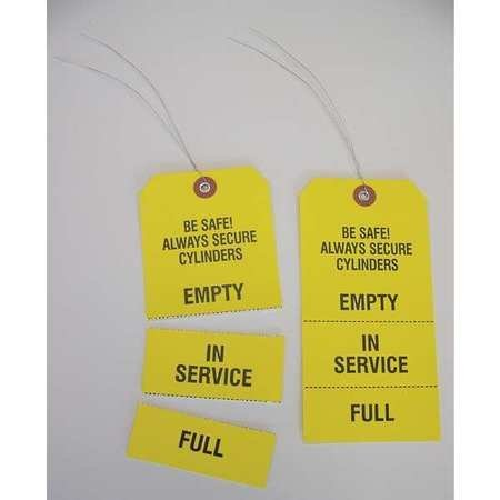 Cylinder Status Tags, Yellow, 6 1/4 x 3 1/8, Pack of - Origin Cylinder