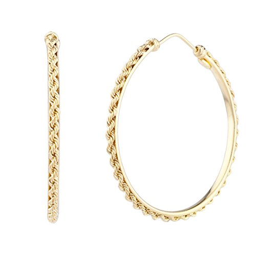 (Women's 14k Yellow Gold Rope Large Hoop Earrings, One)