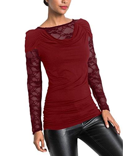 Blusa Top Donna Bluse Shirt Ragazza T Fit Vintage Elegante Slim Manica Abbigliamento in Basic Moda Casual Lunga Pizzo Rosso Zq6qd