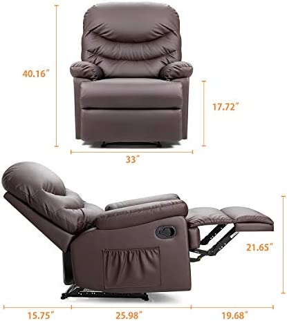 Pawnova Wing Back Massage Recliner Chair, Adjustable Home Theater Seating, Soft Padding Single Sofa for Living Room,Brown