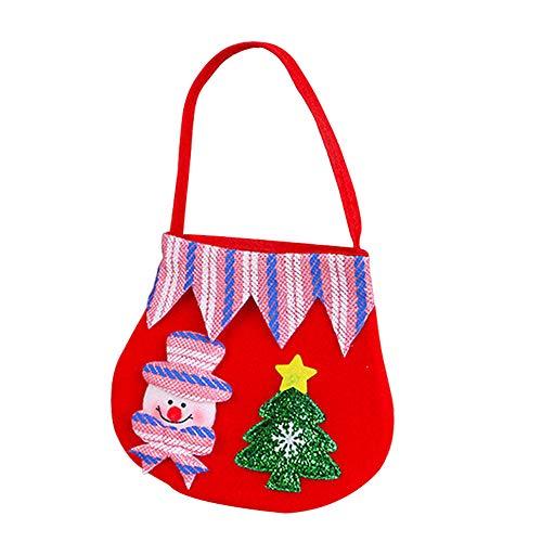 Pequeña de de Tejida del de Regalo Bolsa del Nieve Color Caramelo Navidad del Asas la Muñeco de Regalo del del Muñeco 1pcs La Asas de Size 19 30cm 3 del Nieve Bolsa Gespout del no Niño a06ffq