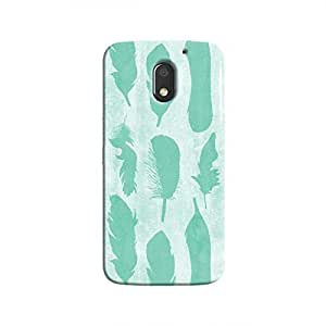 Cover It Up - Blue Feather Print Moto E3 Hard Case