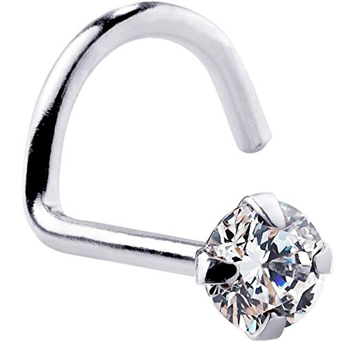 FreshTrends 1.5mm Cubic Zirconia 14K White Gold Nose Ring Twist Screw - 20G
