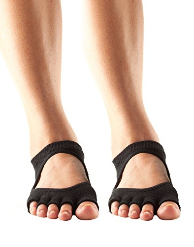Toesox Women's Half Toe Bellarina Grip Yoga Socks 2 Pack (Black, Medium)