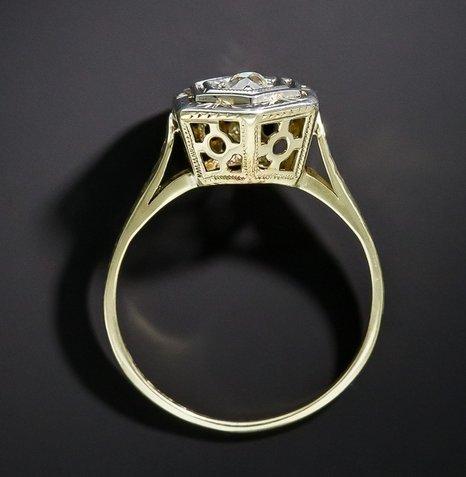 Gowe rond 0,3CT moissanites Lab Cultivées sertie d'un diamant 14K deux tons Or antique en filigrane de mariage Bague de fiançailles