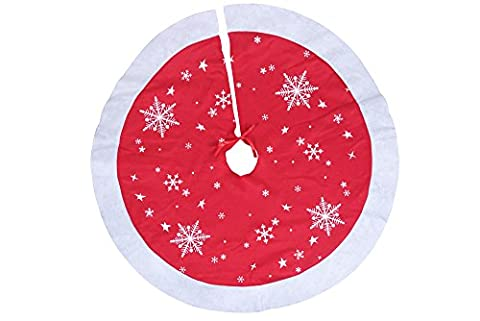 """Red and White Christmas Tree Skirt by Clever Creations   White Snowflake Print   Festive Holiday Design   Tie Closure   Traditional Theme   Contains Needle and Sap Mess on Floors   38"""" - Design Christmas Tree Skirt"""