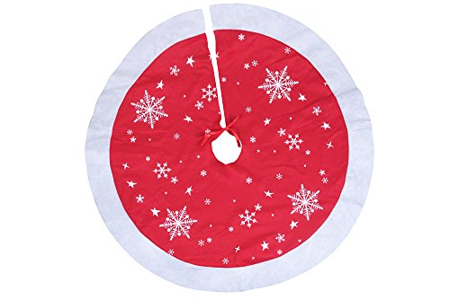 Red and White Christmas Tree Skirt by Clever Creations | White Snowflake Print | Festive Holiday Design | Tie Closure | Traditional Theme | Contains Needle and Sap Mess on Floors | 38