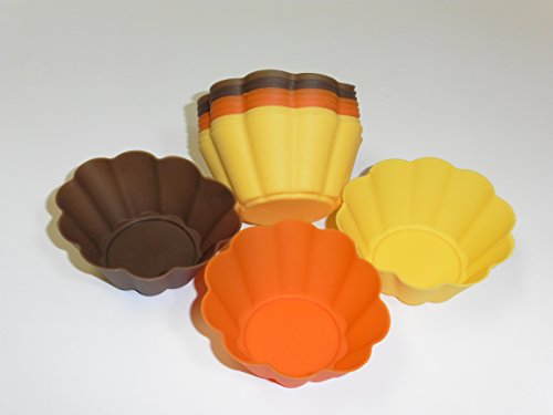 Harvest Colored Flower Silicone Cupcake Baking Molds Holder (12 Cupcakes only)