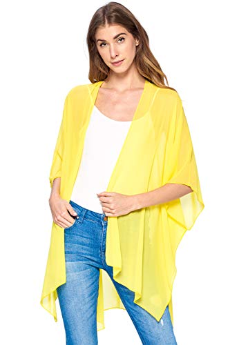 (Modern Kiwi Solid Sheer Chiffon Kimono Cardigan Yellow One Size)