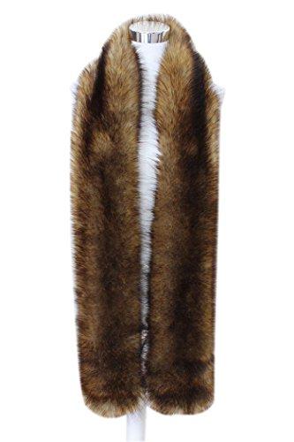 (Men Women Winter Warm Faux Fox Raccoon Fur Collar Stole Long Scarf Shawl (Red Fox))
